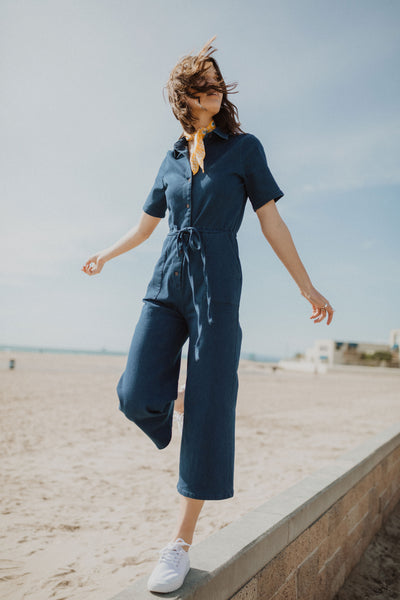 06eab0a1874 Piper   Scoot  The Alexis Collared Boiler Jumpsuit in Denim