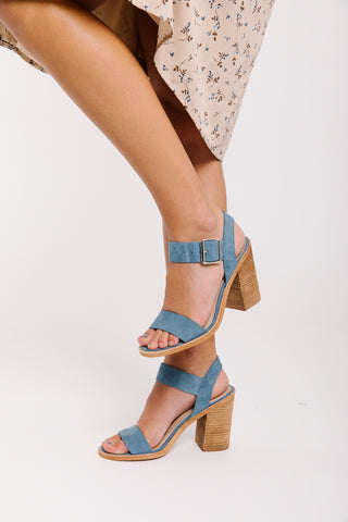 92d5e0105dc Steve Madden  Castro Heel in Blue Suede.   99.00. Steve Madden  April  Chunky Heel Sandal in Cognac Leather