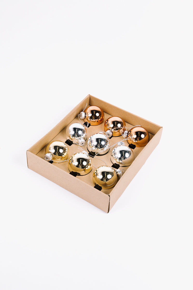 HOLIDAY: Metallic Glass Ball Set of 9