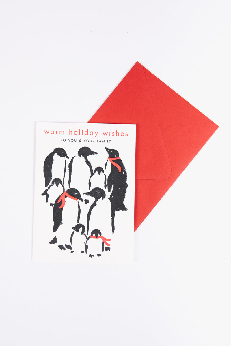 Xmas Paper Source Letterpress Penguins Warm Wishes Holiday Card Set