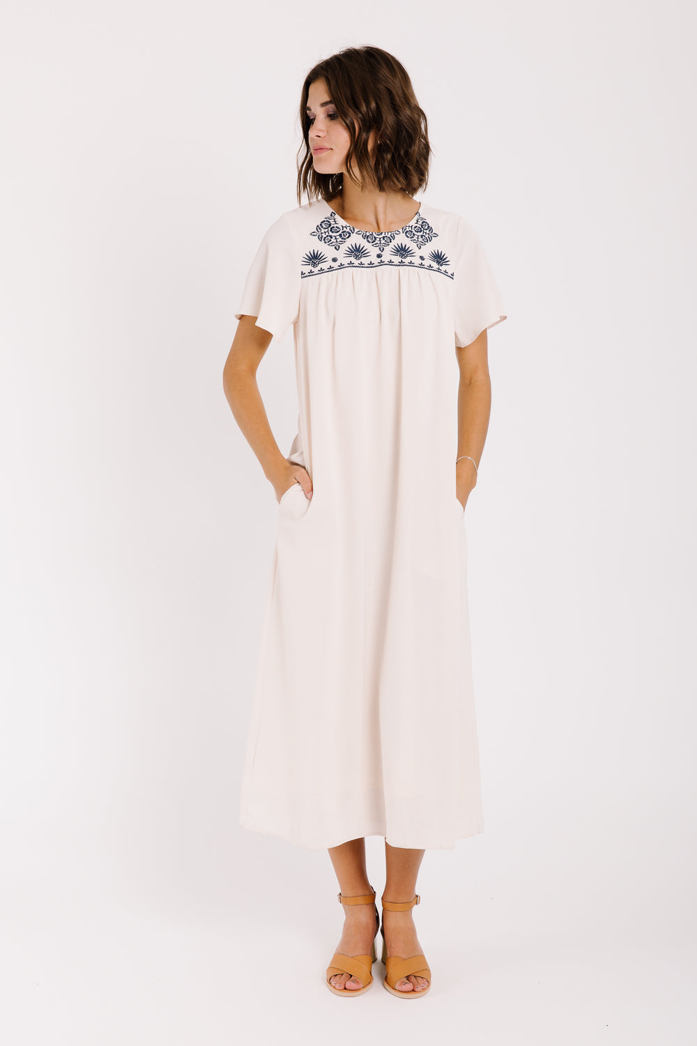 Piper & Scoot: The Hathaway Embroidered Maxi Dress in Natural
