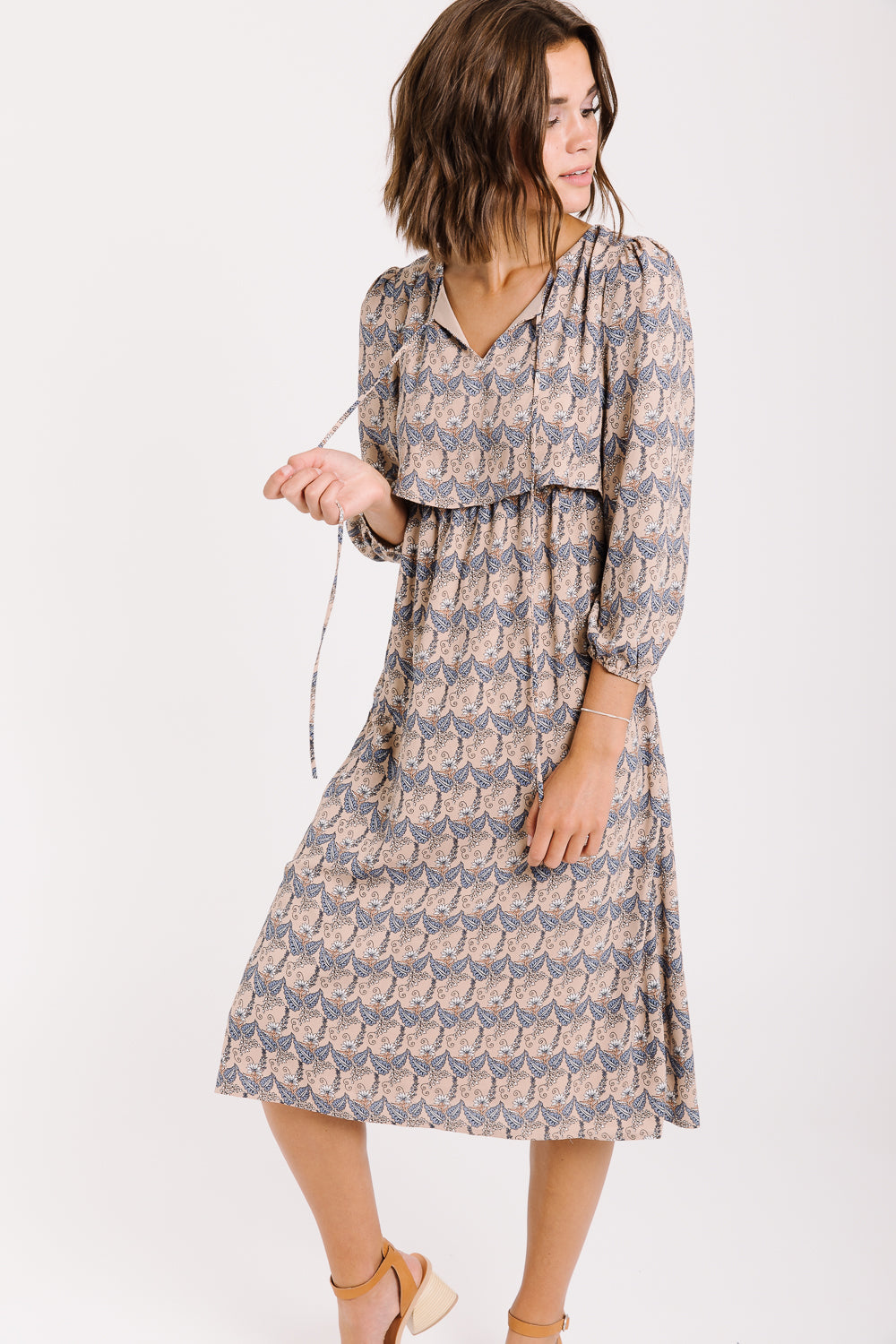 Piper & Scoot: The Village Paisley Bib Dress in Taupe