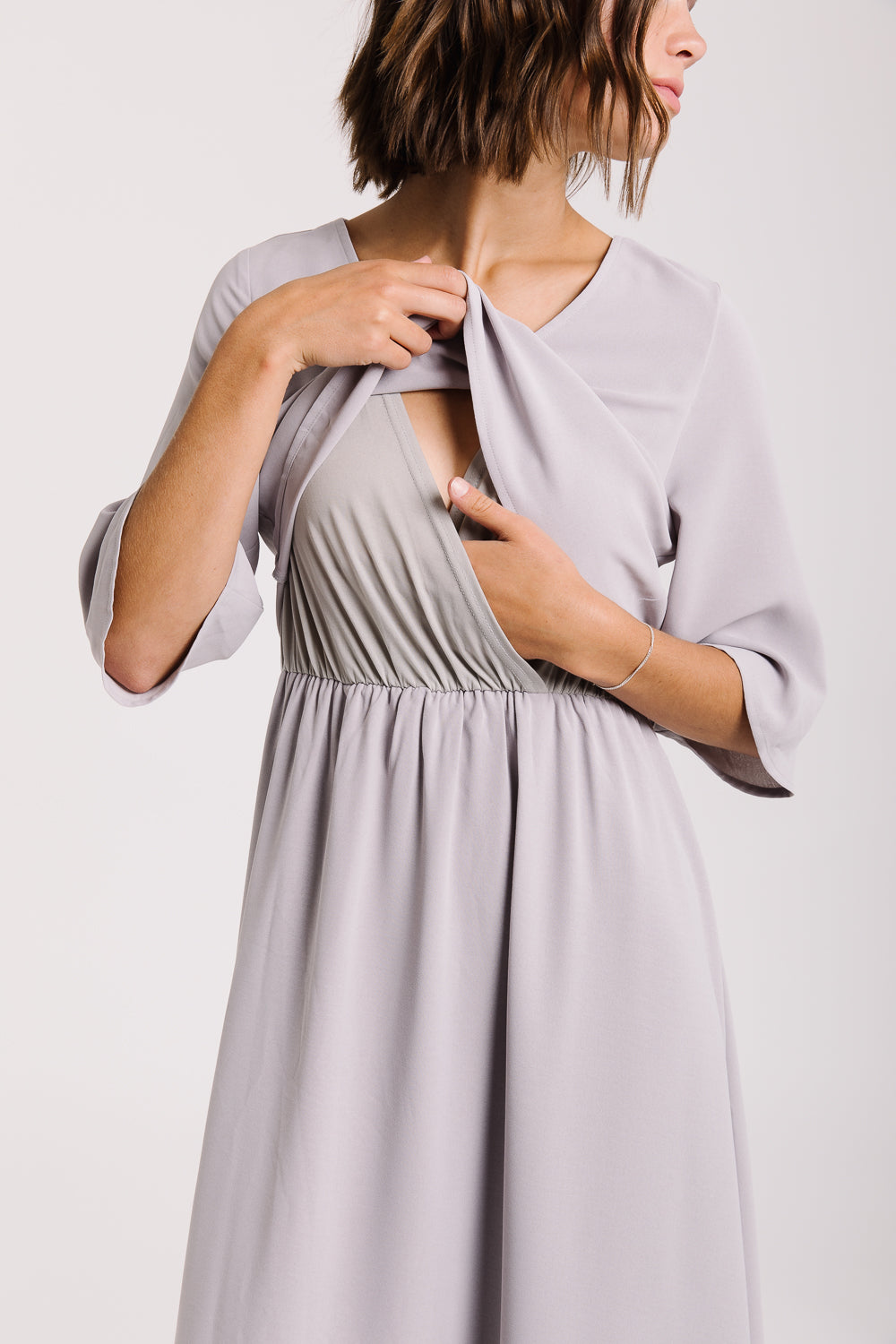 Piper & Scoot: The Bertram Bib Maxi Dress in Light Grey