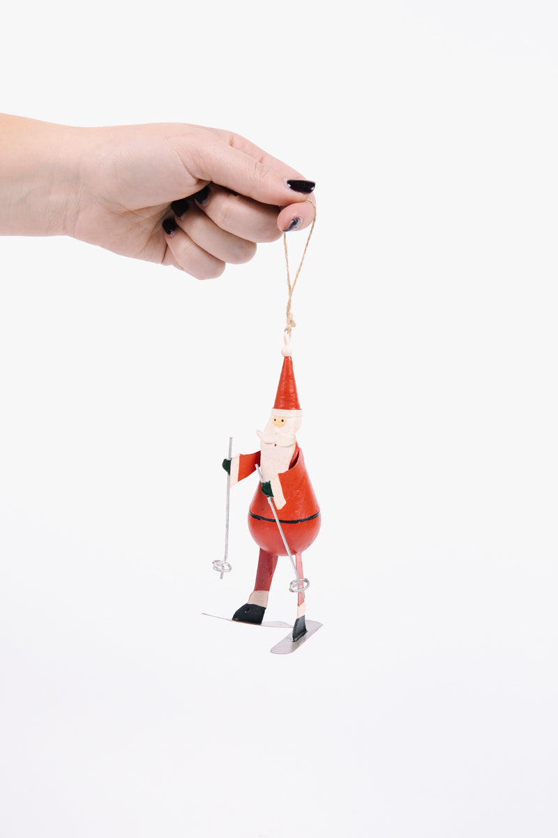 HOLIDAY: Metal Hand Painted Skier Santa Ornament