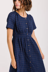 The Wilder Grid Button Dress in Navy