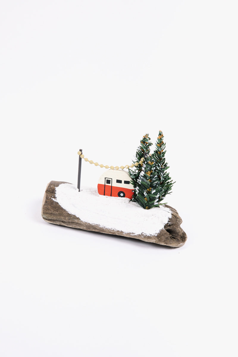 HOLIDAY: Christmas Wood Hand-Painted Camper on Driftwood Block