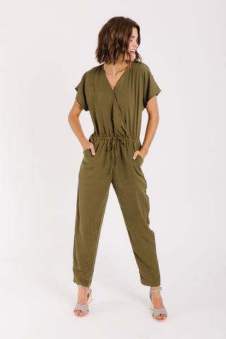 The Colby Button Jumpsuit in Brick Denim