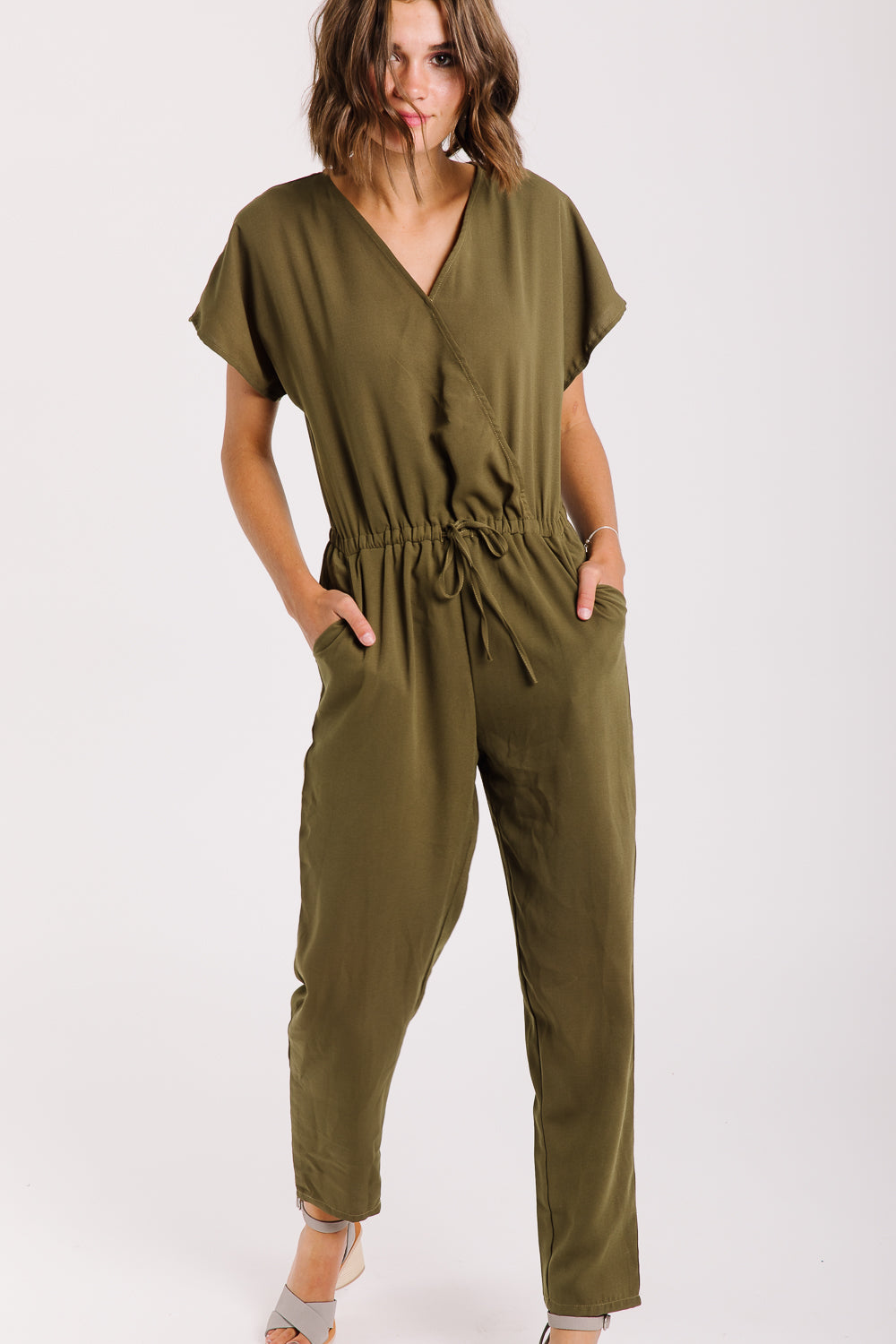 The Jasper Wrap Jumpsuit in Olive