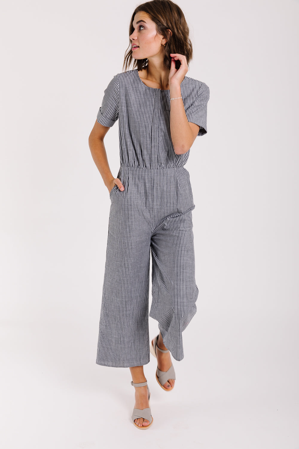 Piper & Scoot: The Tower Striped Jumpsuit in Charcoal