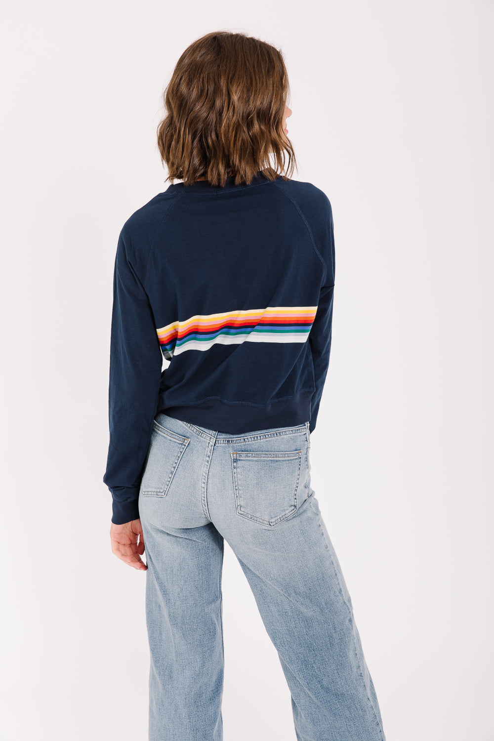 The Jackson Striped Crew Neck in Navy