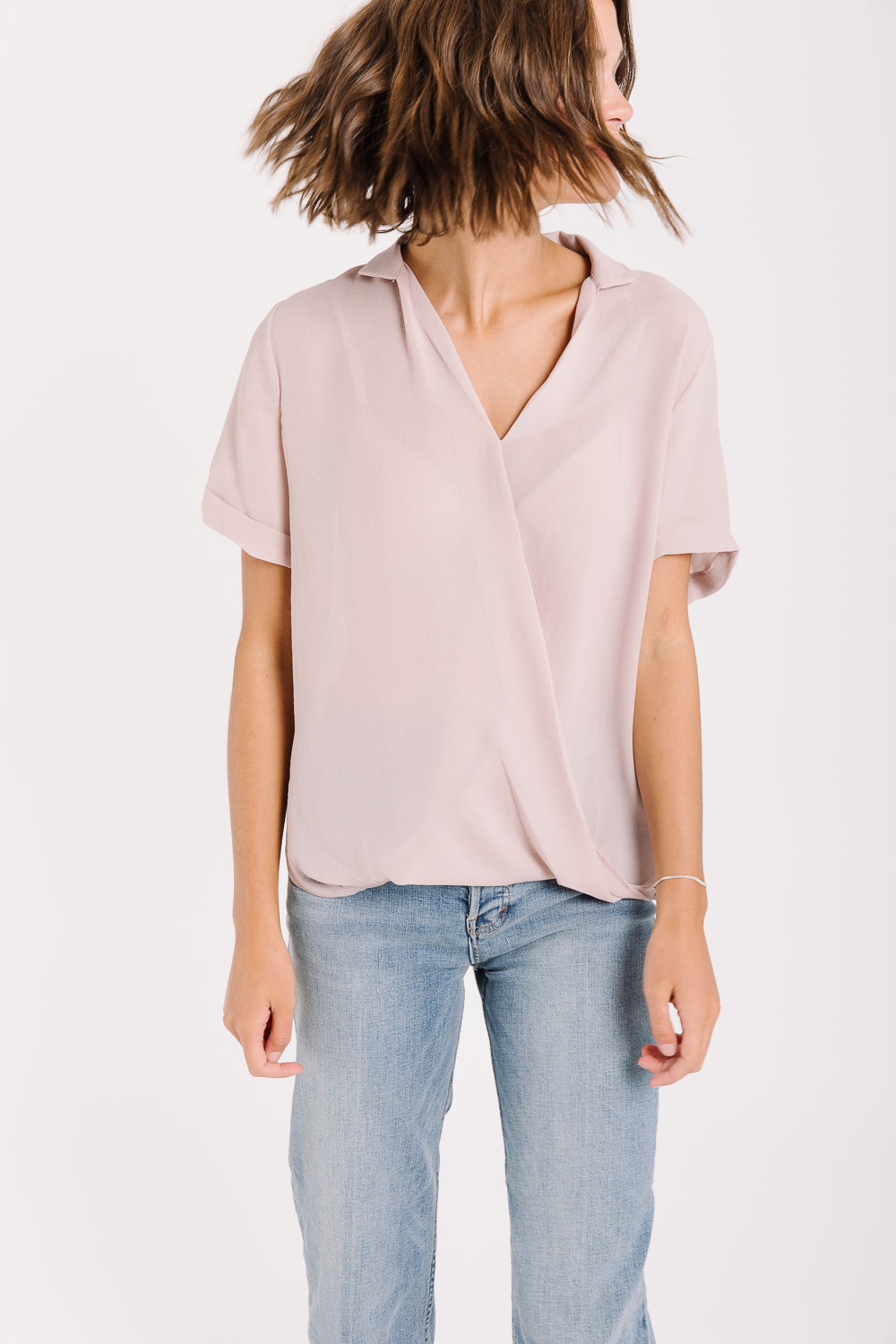 The Mayberry Wrap Collared Blouse in Dusty Pink