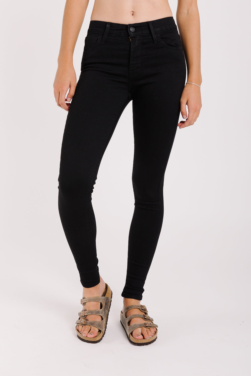Levi's: High Rise Super Skinny Jean in Black Galaxy