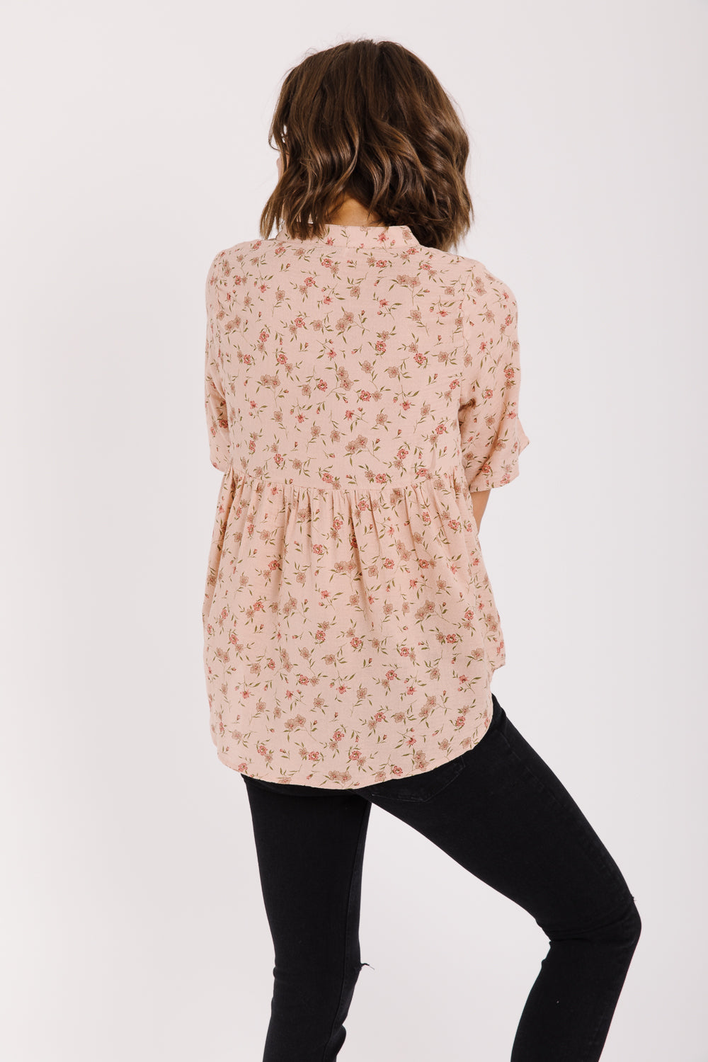 The Dietrich Floral Peplum in Peach