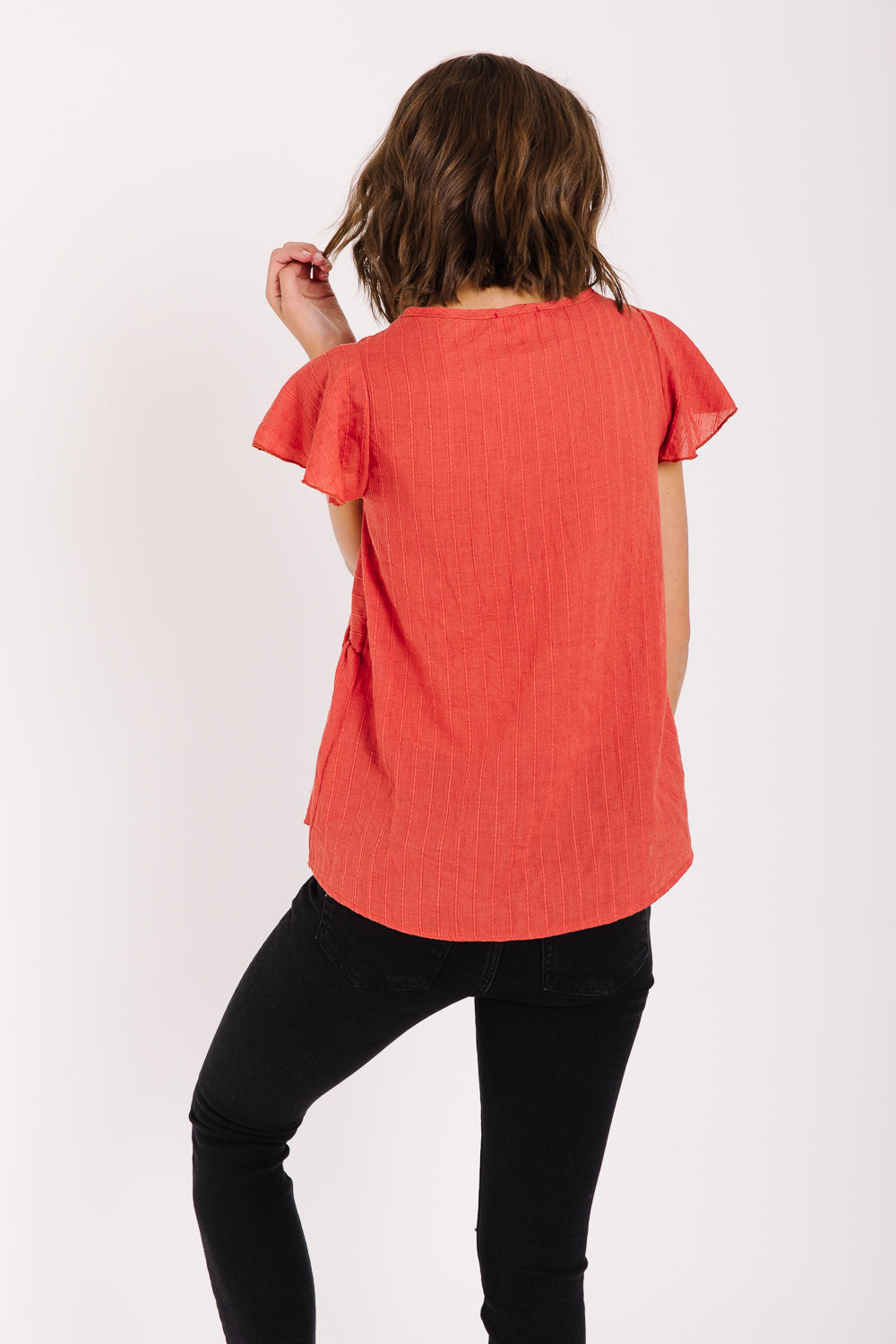 The Sandpoint Ruffle Detail Blouse in Lipstick