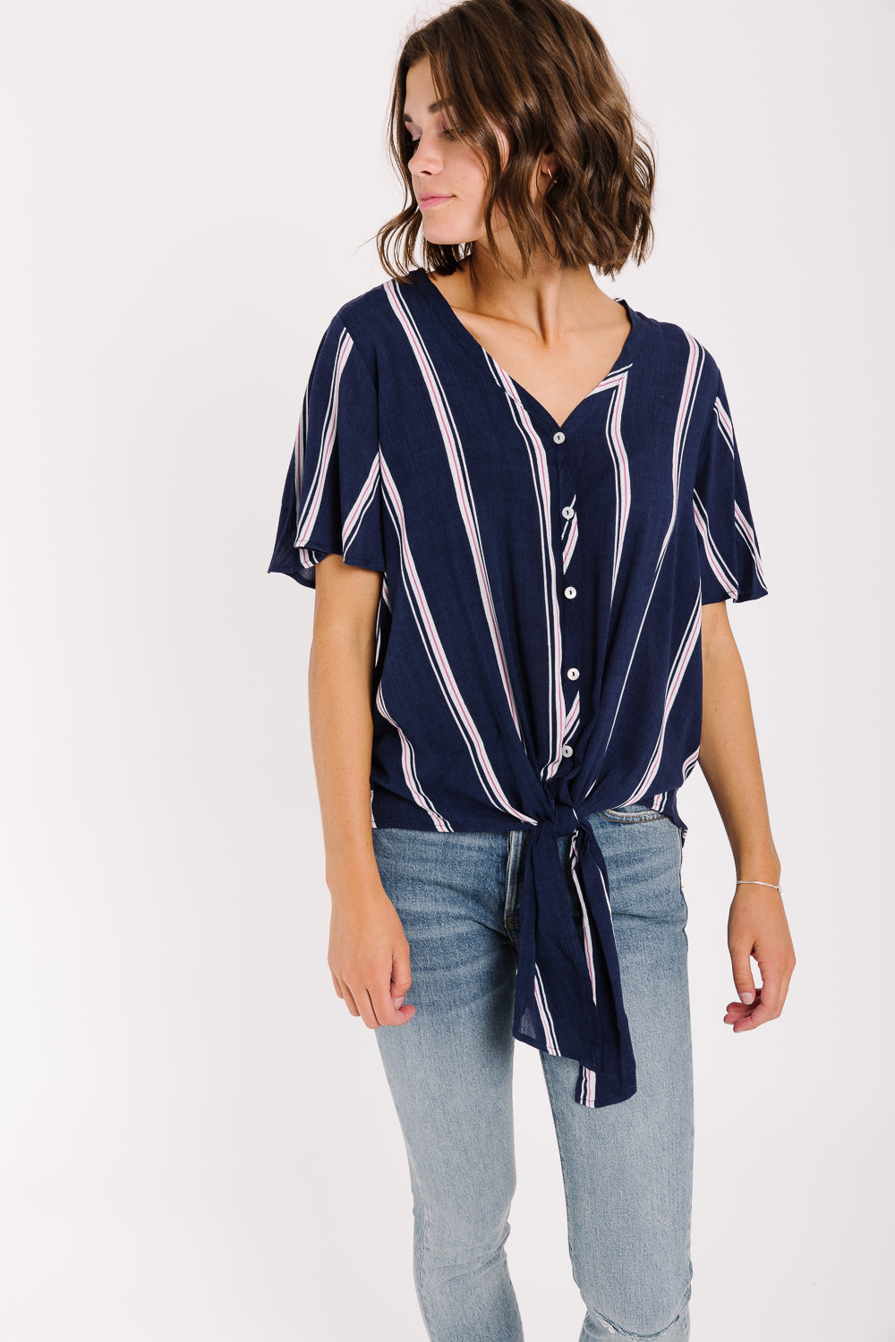The Irwin Striped Tie Blouse in Navy