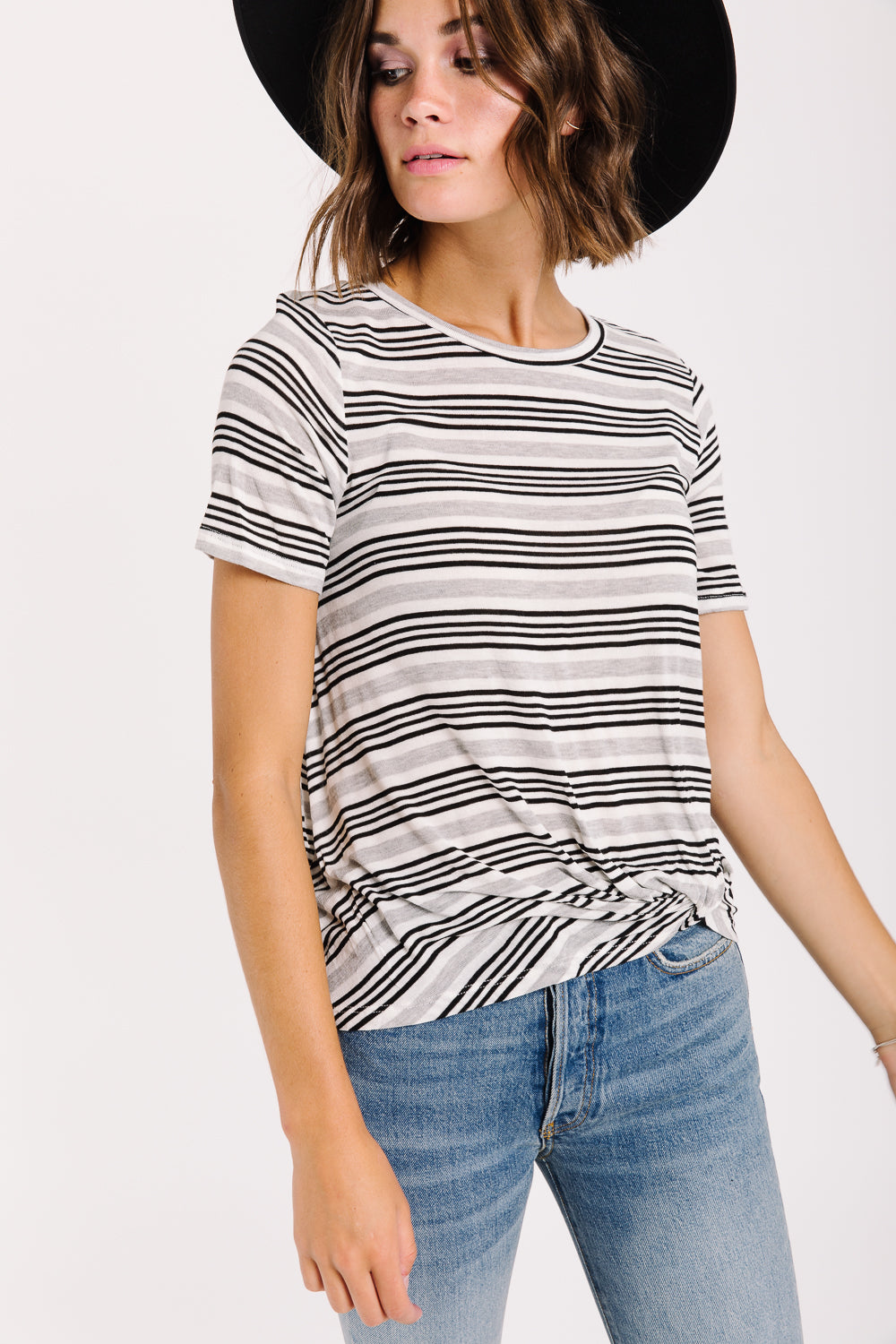 The Malta Striped Knot Blouse in White + Black