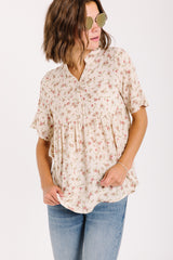 The Dietrich Floral Peplum in Natural