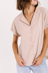 The Connor Striped Button Up Blouse in Taupe