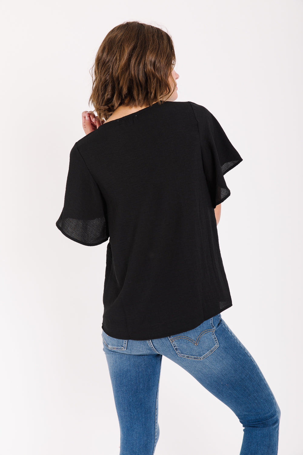 The Baldwin Embroidered Blouse in Black