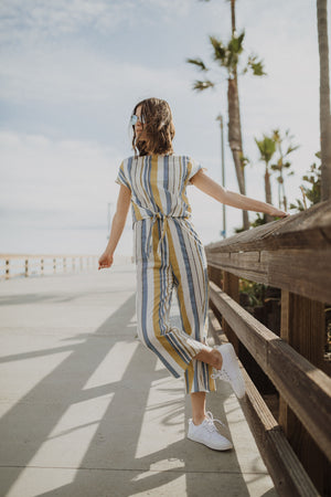 Piper & Scoot: The Calista Striped Knot Jumpsuit in Sherbet
