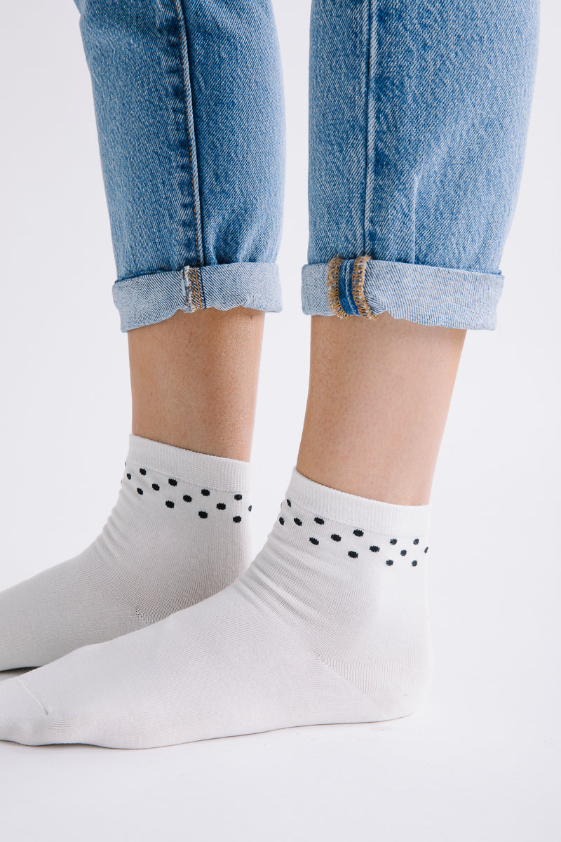 Piper & Scoot: Black Polka Dot Top Socks