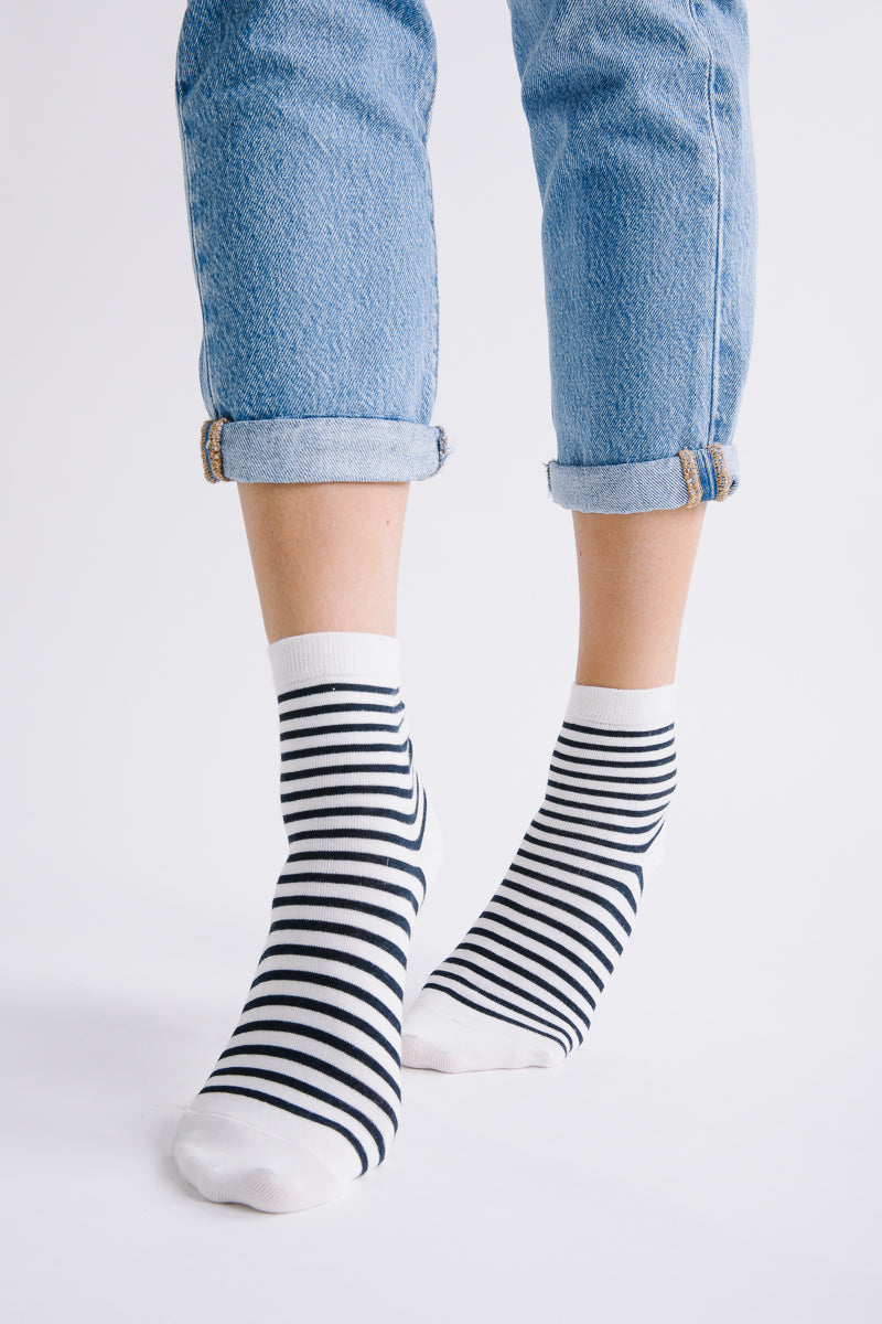 Piper & Scoot: Black and White Stripe Socks