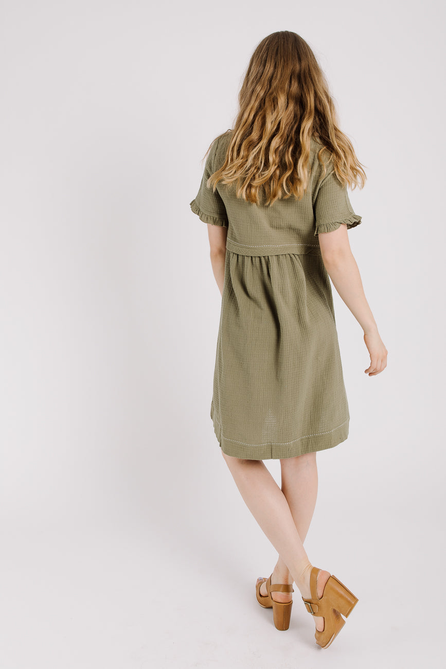 Piper & Scoot: Peasant Dress in Olive Green