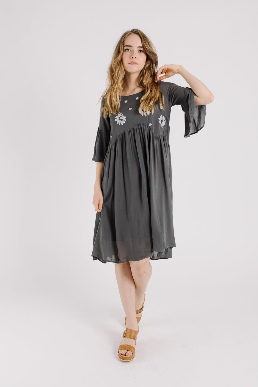 Piper & Scoot: The Laurel Embroidered Dress in Slate