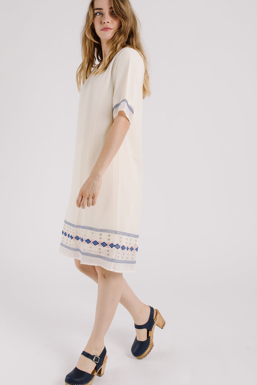 Piper & Scoot: The Southwest Embroidered Dress in Cream