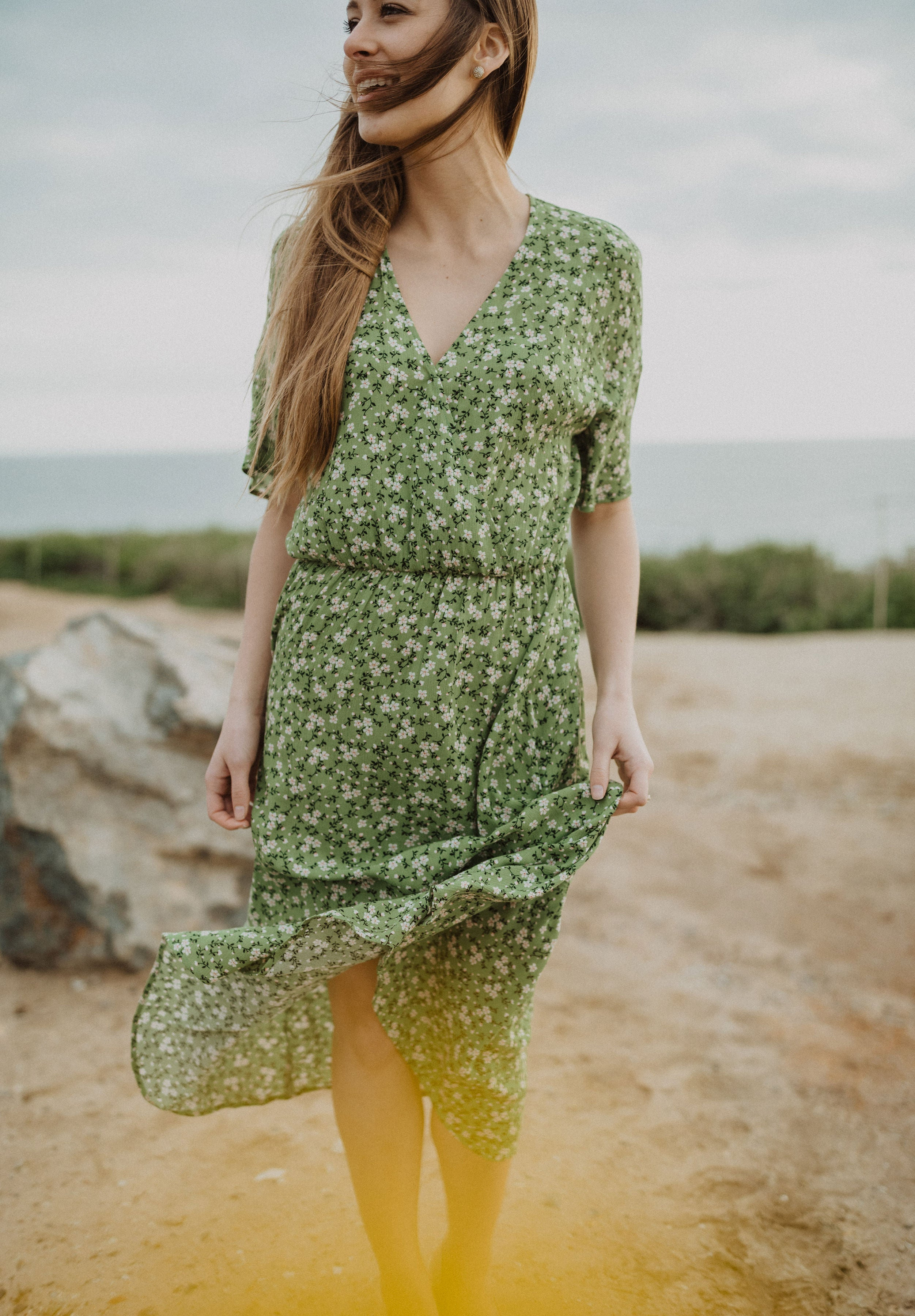 The Sable Floral Wrap Dress in Pear