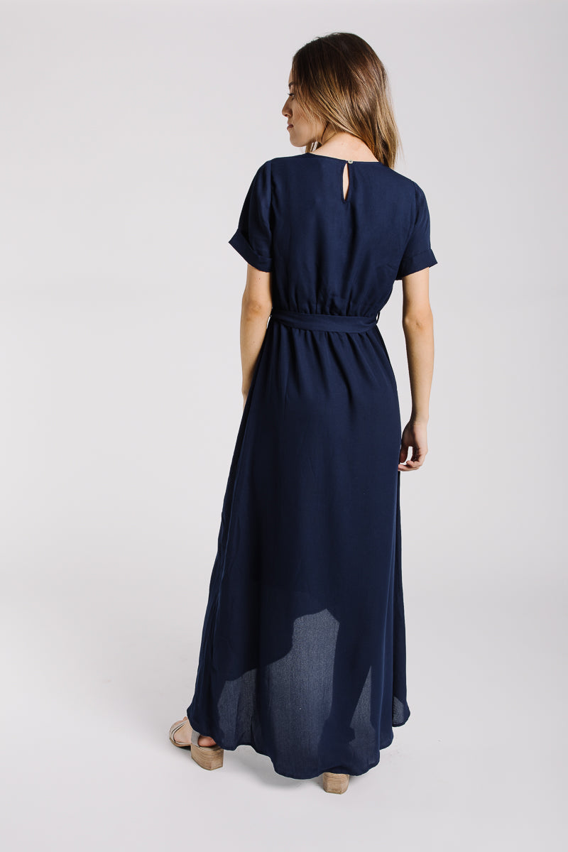 The Wakefield Belted Maxi Dress in Navy