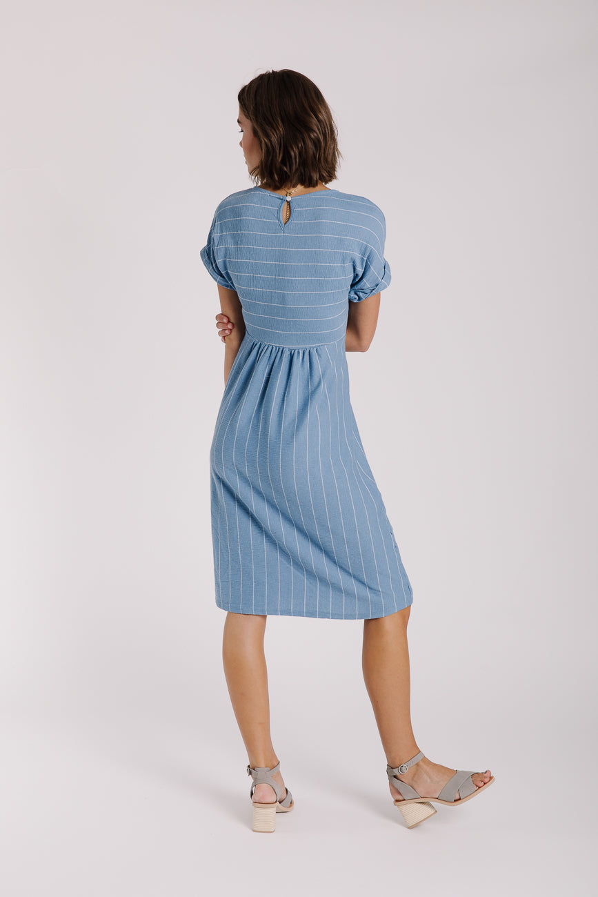 The Makena Tie Front Stripe Dress in Light Blue