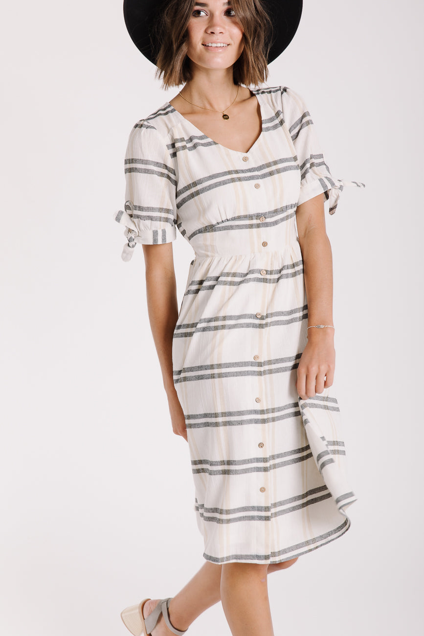 The Colfax Plaid Tie Sleeve Dress in Ivory