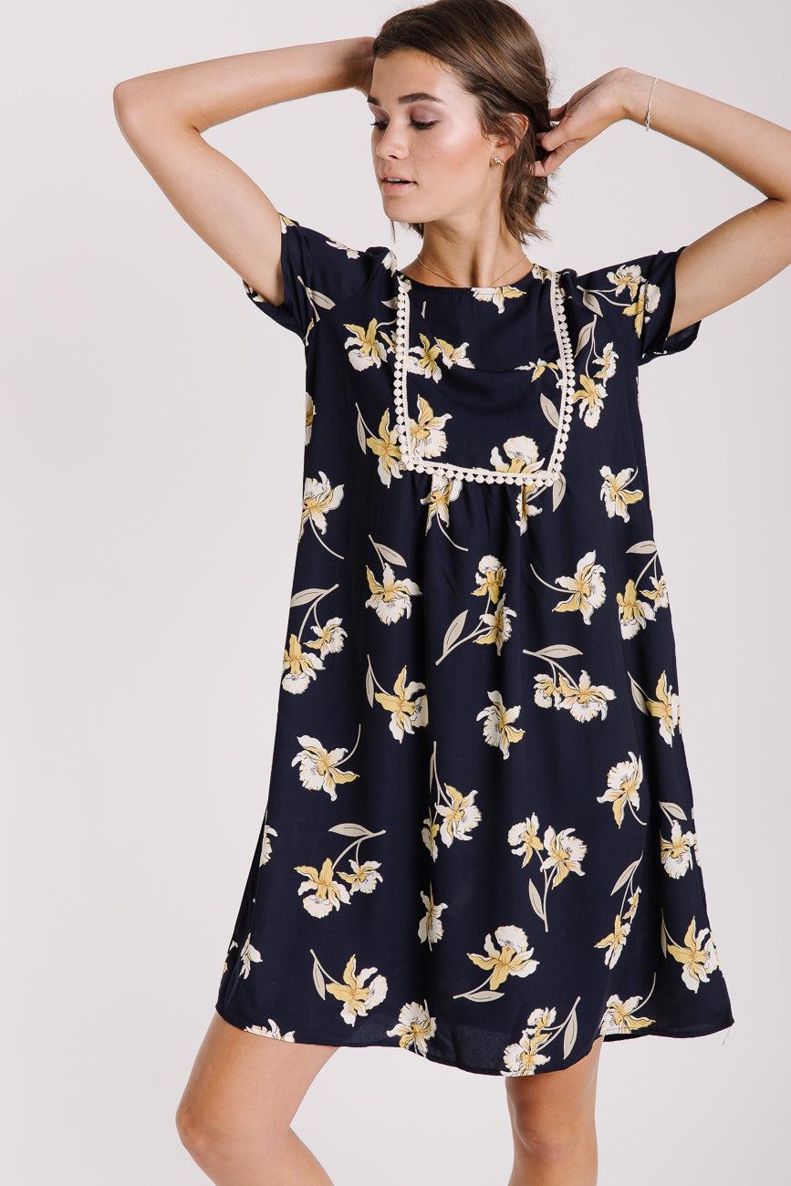 The Hanalei Floral Dress in Navy