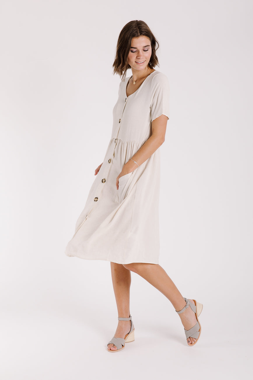 The Manila Button Pocket Dress in Natural