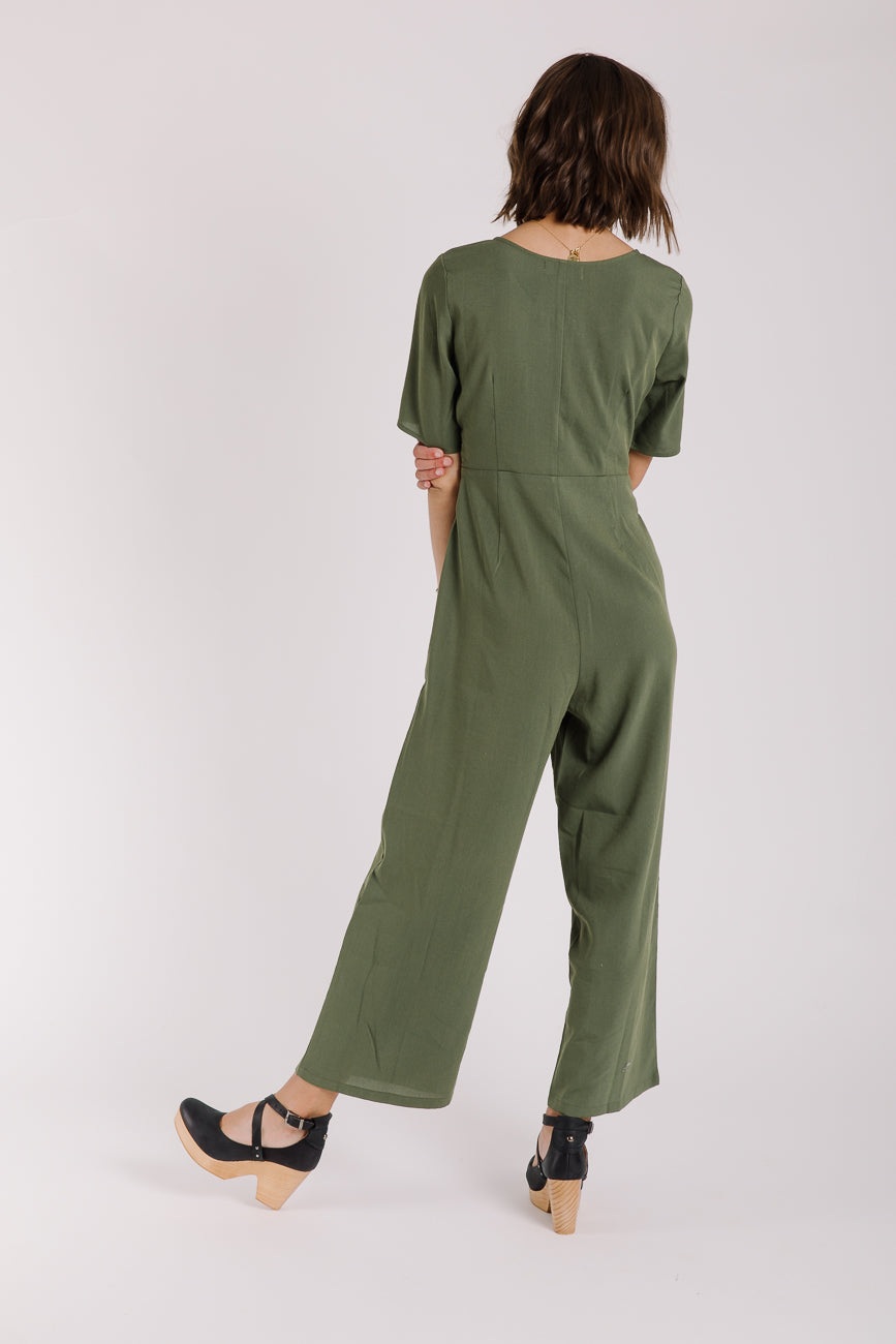 The Venice Tie Jumpsuit in Olive