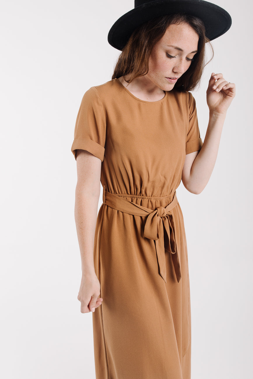 The Wakefield Belted Maxi Dress in Camel