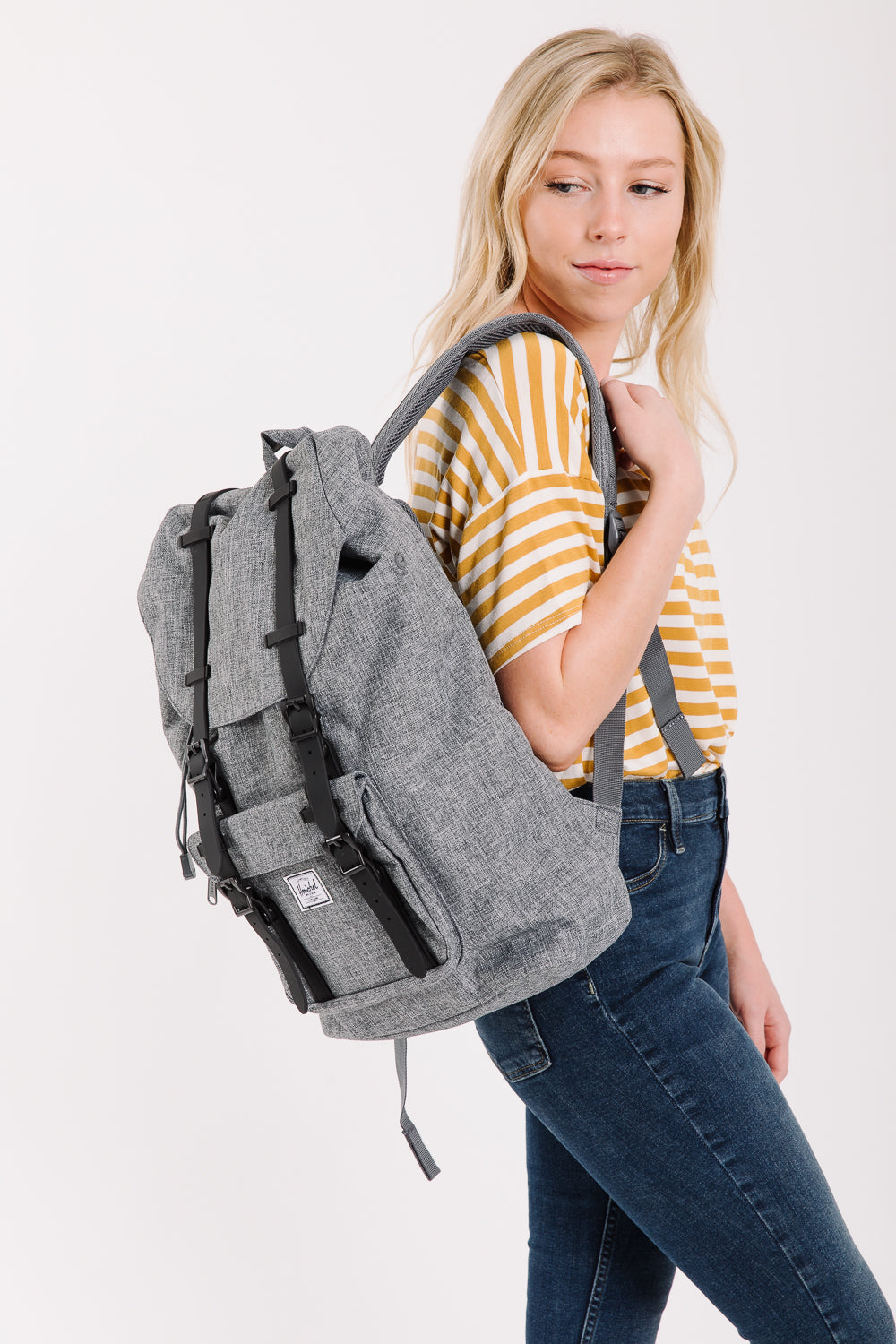 Herschel: Little America | Mid-Volume Backpack in Poly Raven Crosshatch/Black