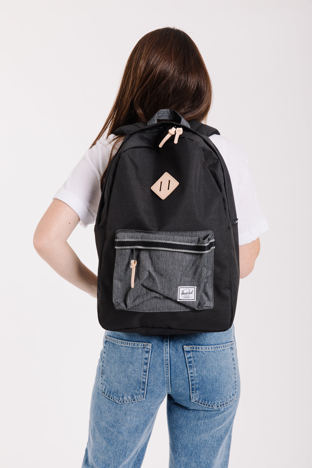 Herschel: Heritage Backpack in Black/Black Denim