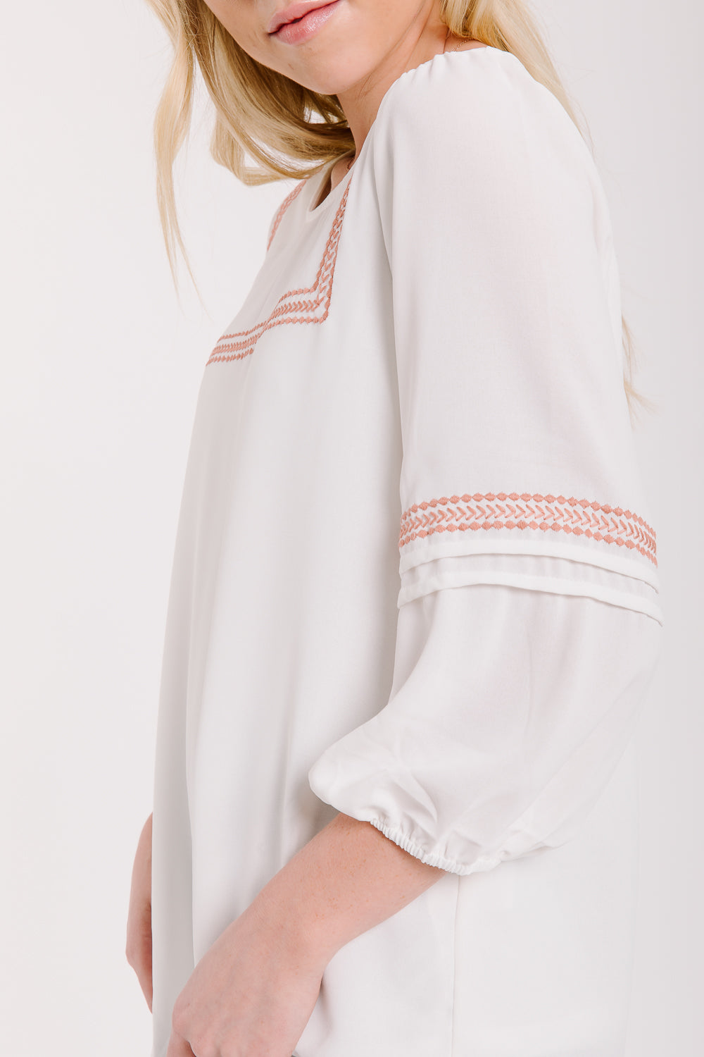 The Eddy Embroidered Bib Blouse in Ivory