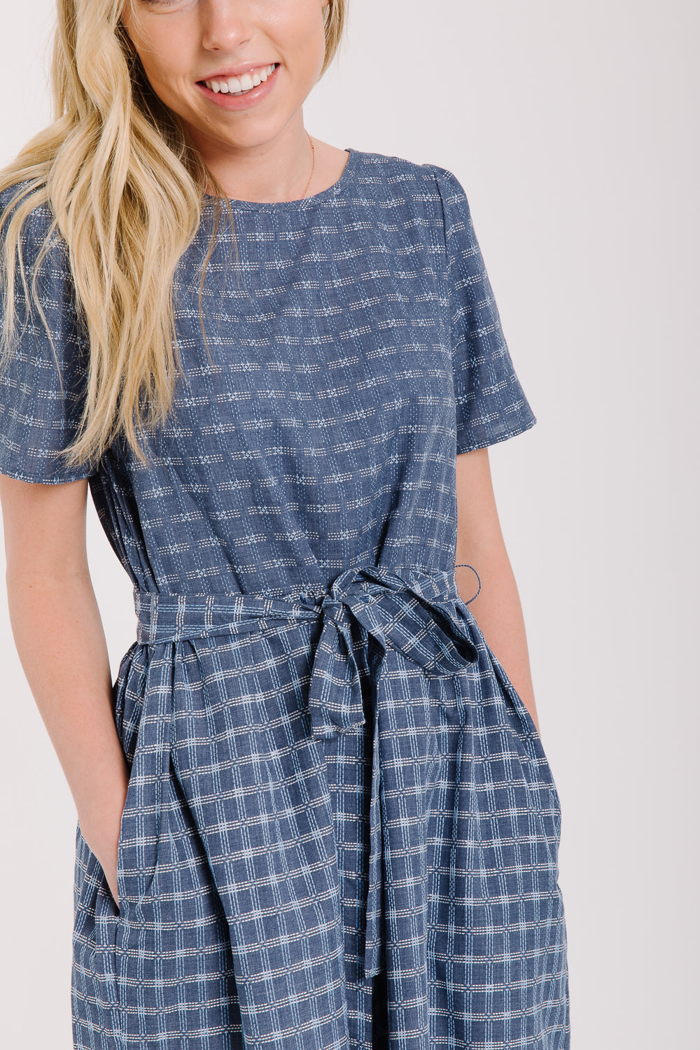 The Brimfield Plaid Tie Dress in Blue