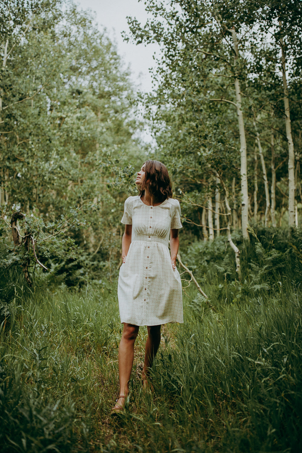 The Wilder Grid Button Dress in Ivory