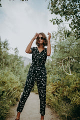 The Gilmore Floral Jumpsuit in Black