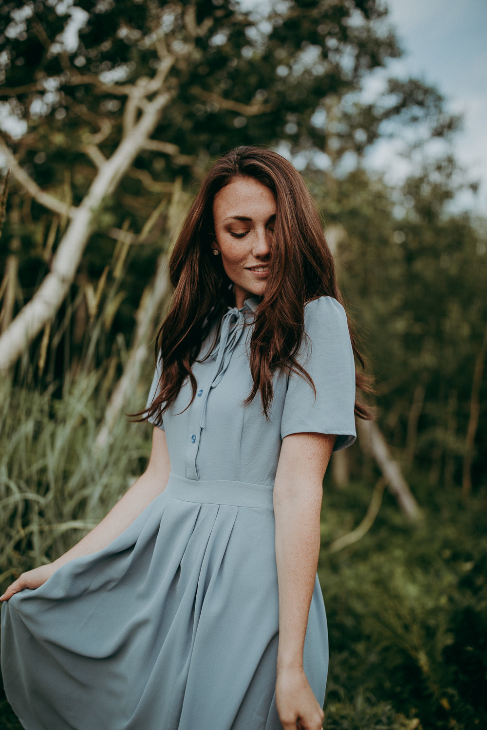 The Alice Collared Dress in Light Blue