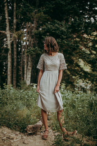 The Rowley Button Maxi Dress in Light Olive
