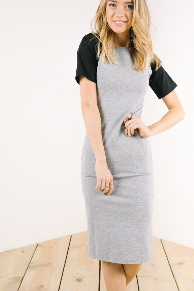 The Charlie Dress in Heather Grey + Black