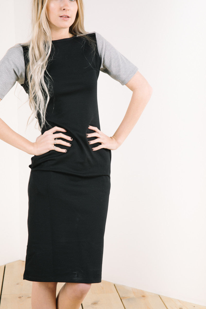 Full body detail of tahoe dress in black