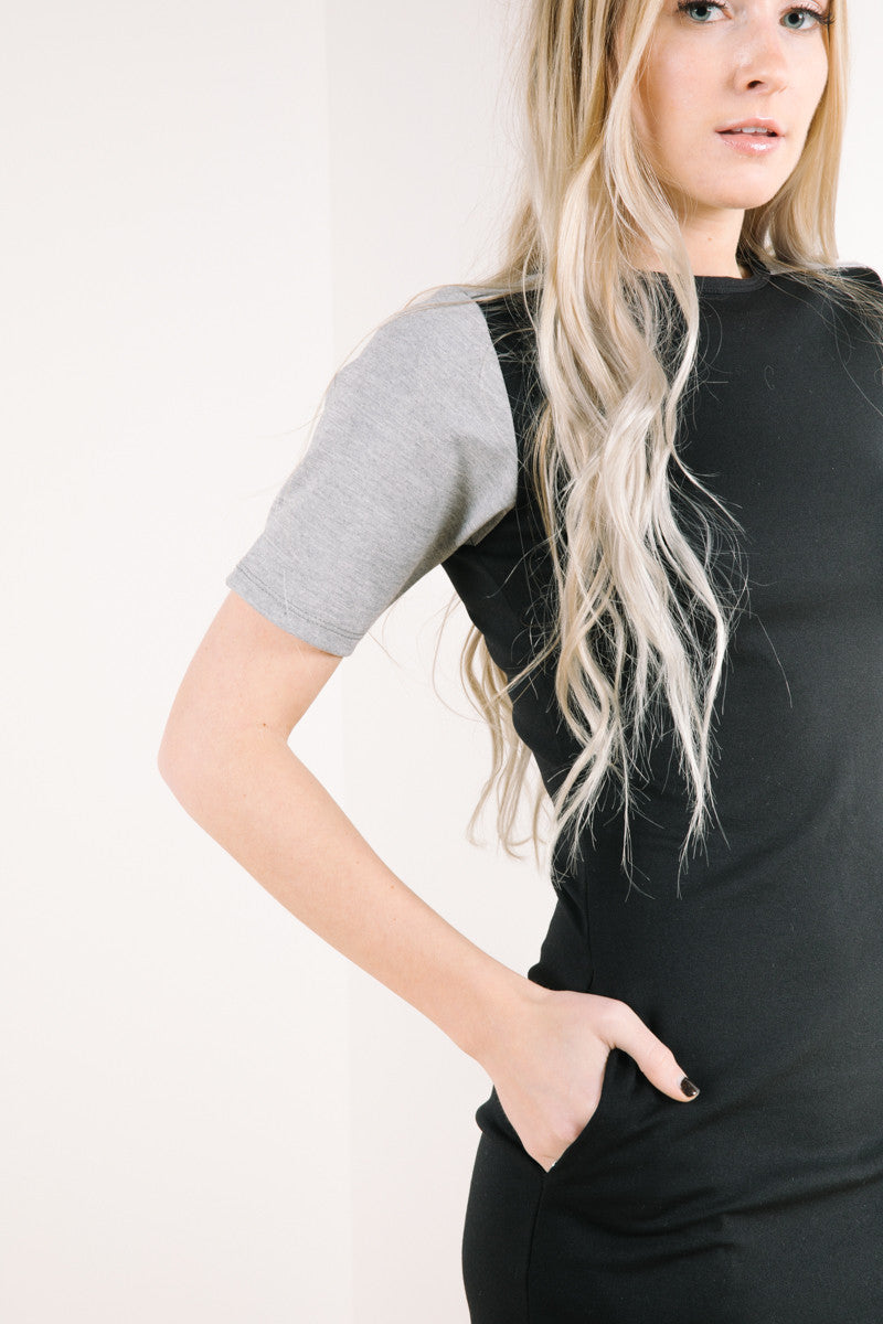 Close up of sleeve on tahoe dress in black