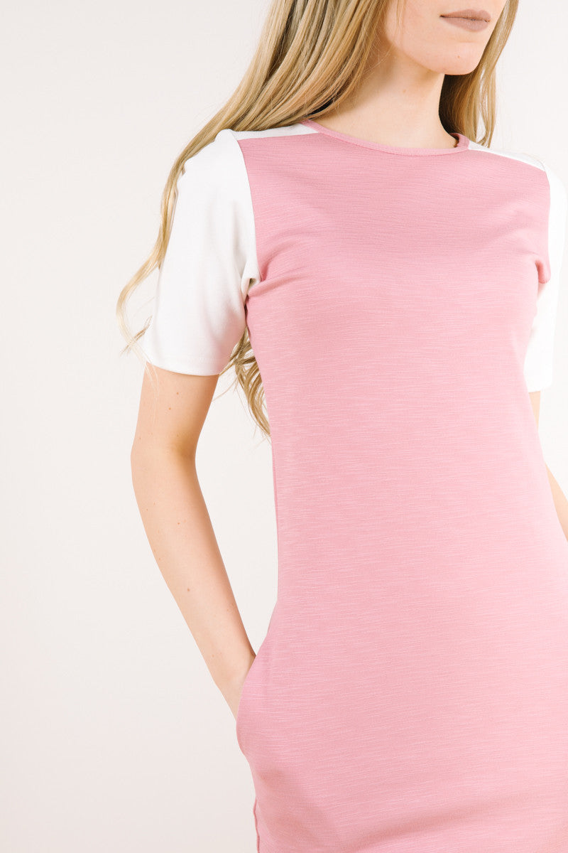 Two tone sleeve of tahoe dress in dusty rose