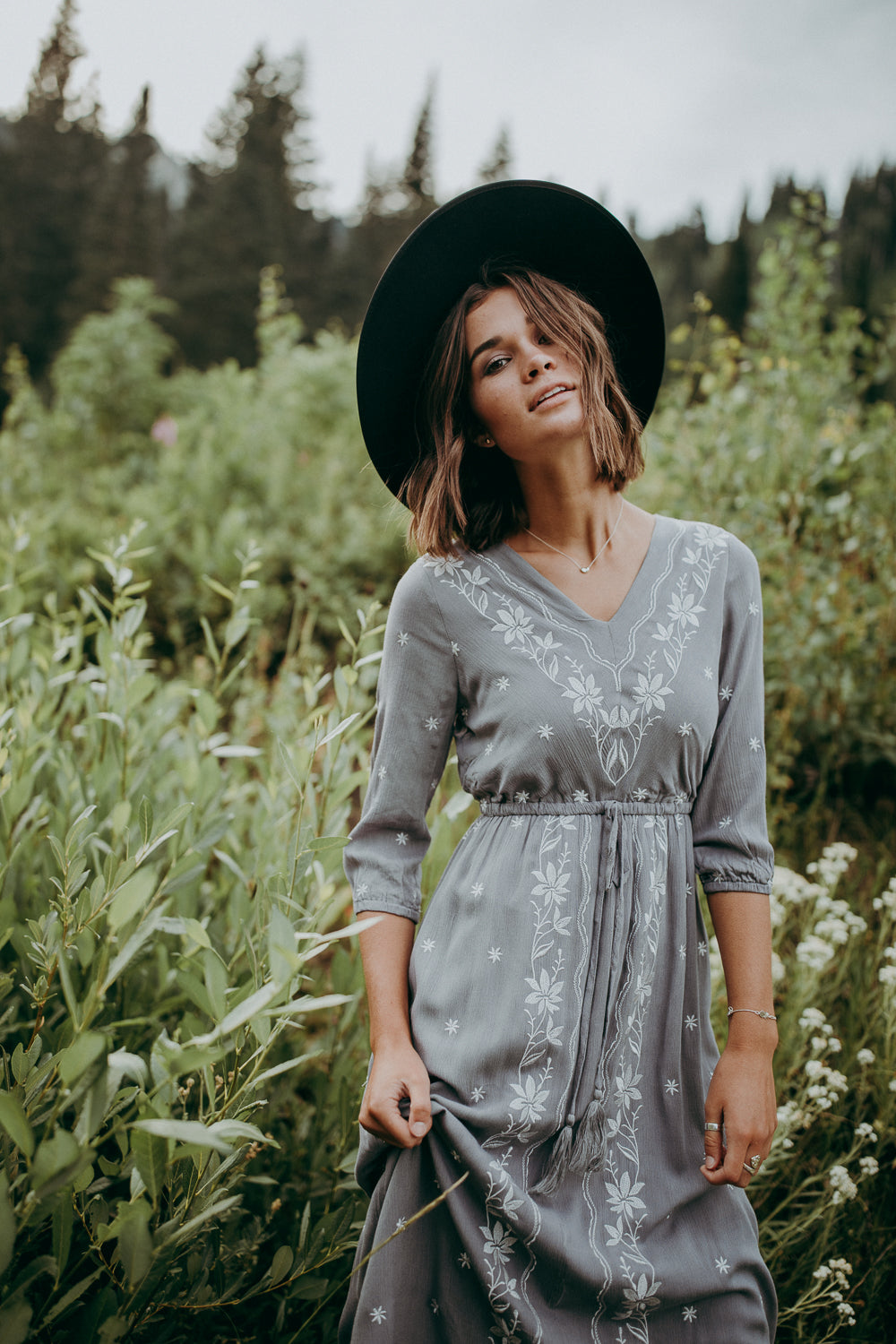 Piper & Scoot: The Avery Embroidered Dress in Grey